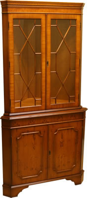 reproduction double corner cabinet yew