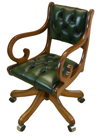 reproduction regency swivel desk chair with arms