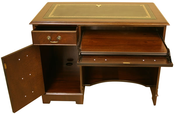 reproduction single pedestal computer desk yew or mahogany