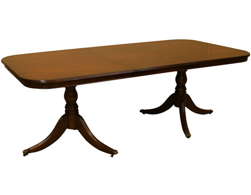 reproduction dining table with 2 pedestals and 1 leaf