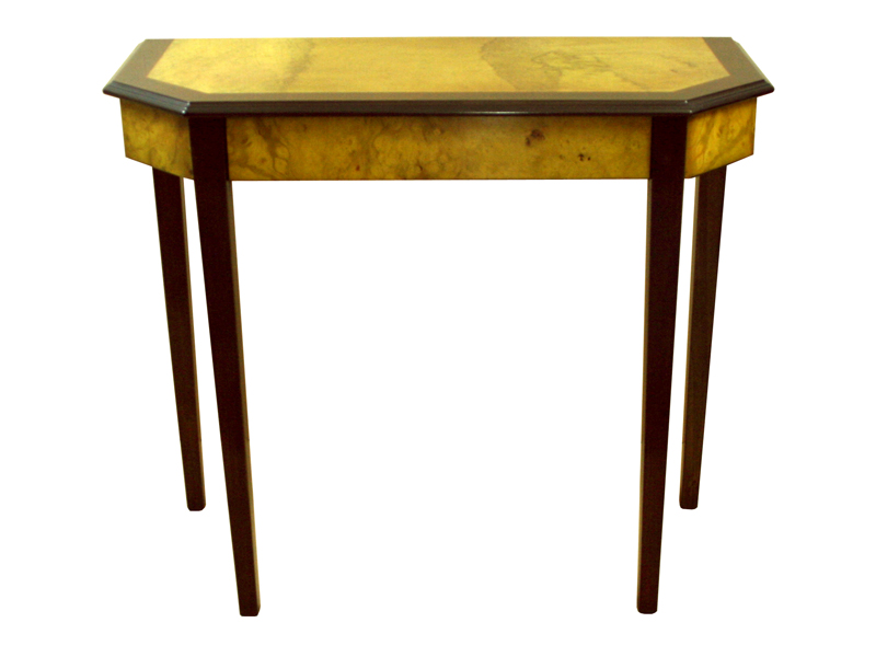 Art Deco Hall Table Myrtle and Walnut finish