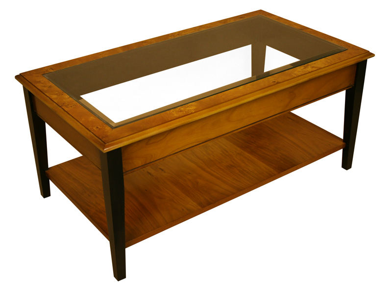 Glass Top Tapered Leg Coffee Table
