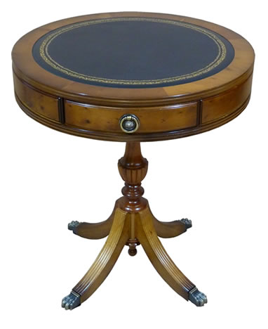 reproduction leather top drum table