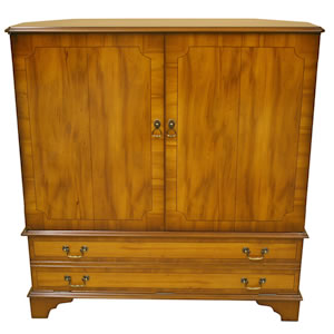 fully enclosed reproduction tv cabinet yew mahogany