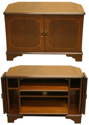 reproduction low tv cabinet with split folding doors