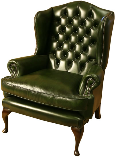 Royal Wing Chair Green Leather Mahogany Queen Ann Legs