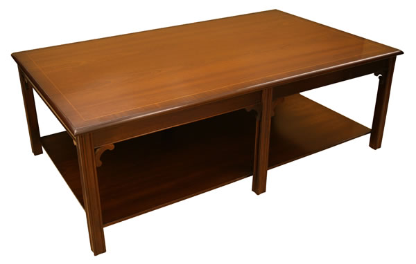 reproduction 6 leg chippendale coffee table with shelf